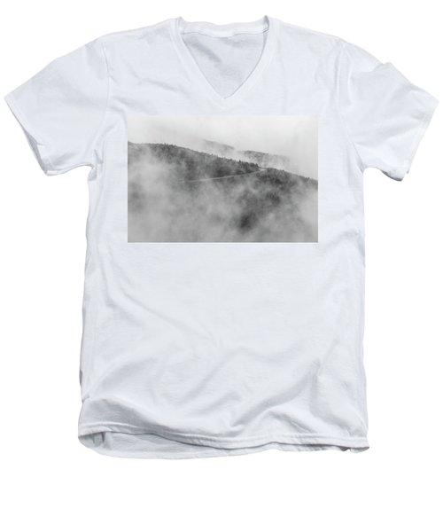 Road In Fog - Blue Ridge Parkway Men's V-Neck T-Shirt