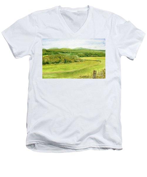 Road Through Vermont Field Men's V-Neck T-Shirt