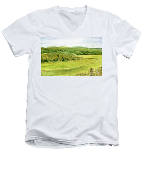 Road Through Vermont Field Men's V-Neck T-Shirt