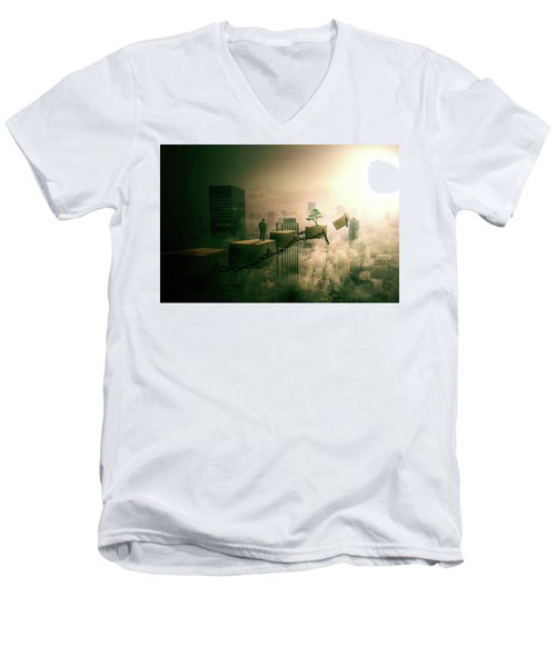 Men's V-Neck T-Shirt featuring the digital art Road To Recovery  by Nathan Wright