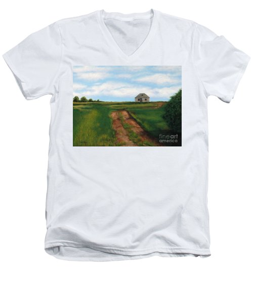 Road To The Past Men's V-Neck T-Shirt by Billinda Brandli DeVillez