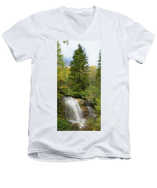 Men's V-Neck T-Shirt featuring the photograph Roadside Waterfall In North Carolina by Mike McGlothlen