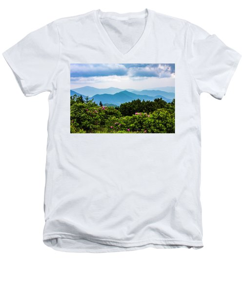 Roan Mountain Rhodos Men's V-Neck T-Shirt by Dale R Carlson