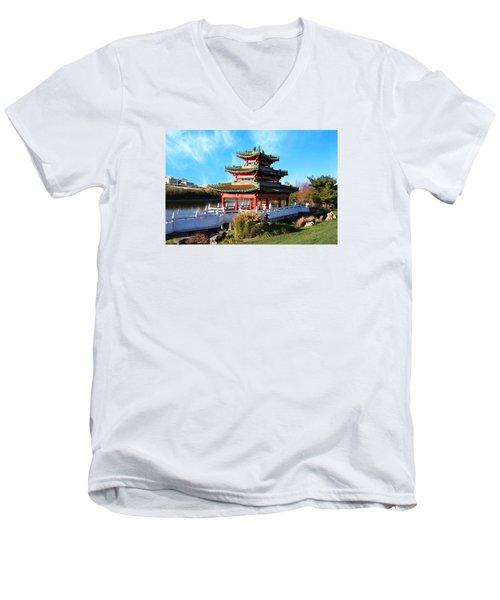 Robert D. Ray Asian Garden Men's V-Neck T-Shirt by Kathy M Krause