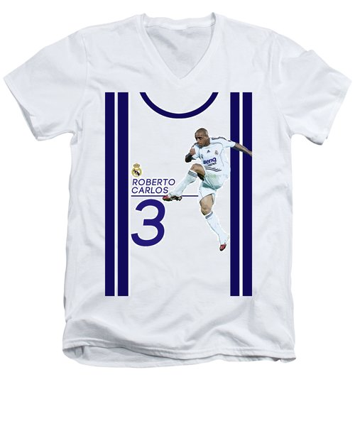 Roberto Carlos Men's V-Neck T-Shirt by Semih Yurdabak