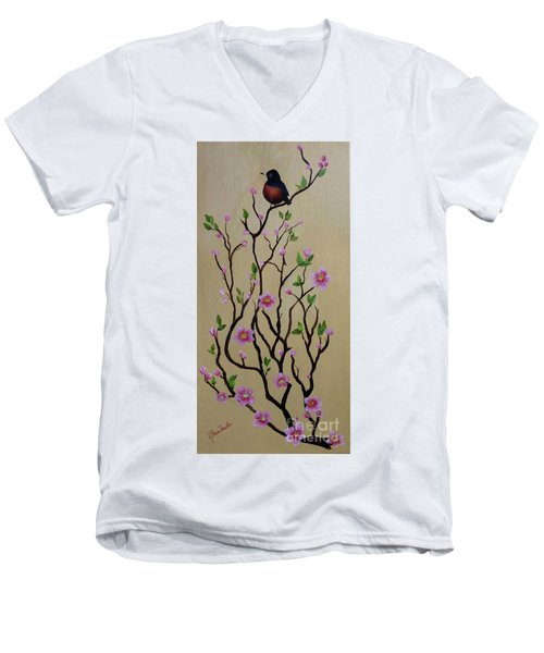 Robin And Spring Blossoms Men's V-Neck T-Shirt
