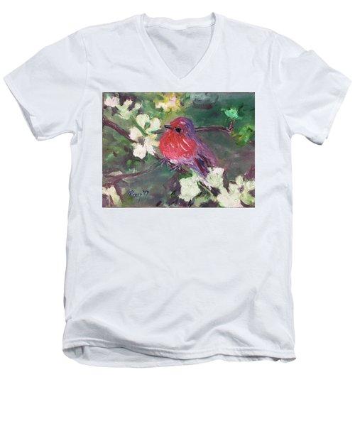 Robin Chick In White Cherry Blossoms Men's V-Neck T-Shirt