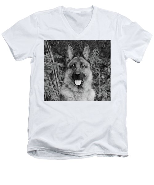 Men's V-Neck T-Shirt featuring the photograph Rocco - Bw by Sandy Keeton