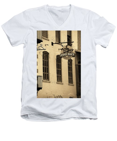 Men's V-Neck T-Shirt featuring the photograph Rochester, New York - Jimmy Mac's Bar 3 Sepia by Frank Romeo