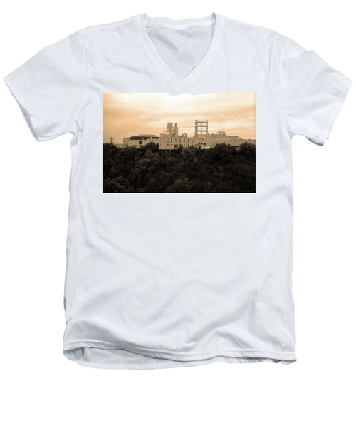Men's V-Neck T-Shirt featuring the photograph Rochester, Ny - Factory On A Hill Sepia by Frank Romeo