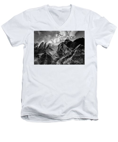 Rock #9542 Bw Version Men's V-Neck T-Shirt by Andrey Godyaykin