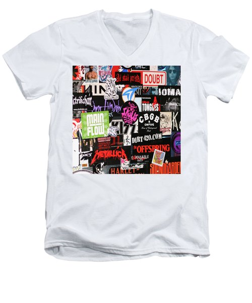 Rock And Roll Stickers Men's V-Neck T-Shirt
