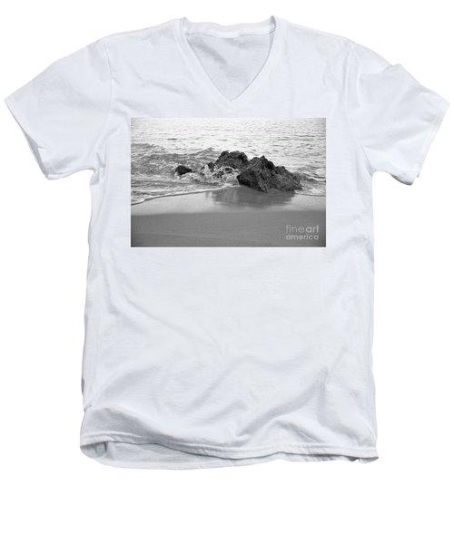 Rock And Waves In Albandeira Beach. Monochrome Men's V-Neck T-Shirt by Angelo DeVal