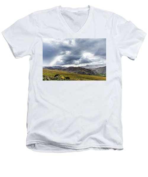 Rock Formation Landscape With Clouds And Sun Rays In Ireland Men's V-Neck T-Shirt by Semmick Photo