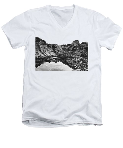 Men's V-Neck T-Shirt featuring the photograph Rock by Rebecca Harman