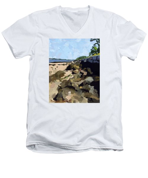 Rock Wall Looking South On Ten Pound Island, Gloucester, Ma Men's V-Neck T-Shirt