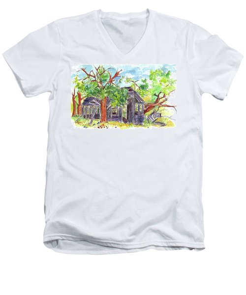 Men's V-Neck T-Shirt featuring the painting Rockland Cabin by Cathie Richardson