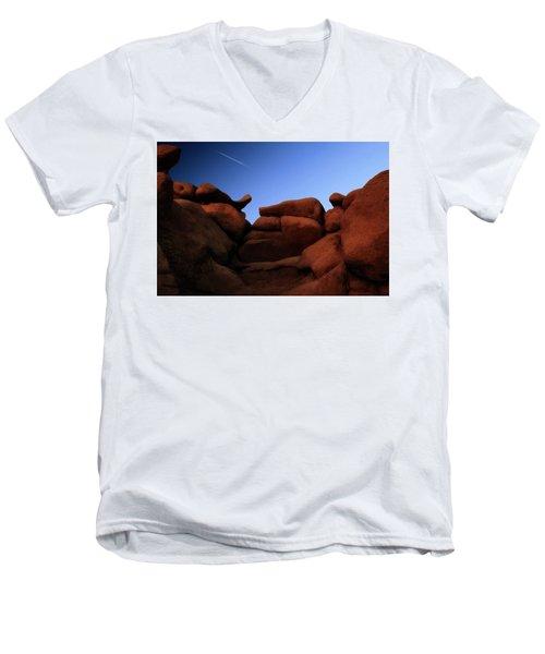 Rocks And Sky At Goblin Valley  Utah Men's V-Neck T-Shirt by Gary Warnimont