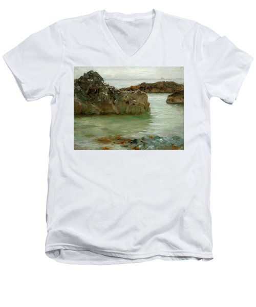 Men's V-Neck T-Shirt featuring the painting Rocks At Newport by Henry Scott Tuke
