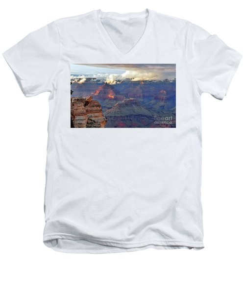 Rocks Fall Into Place Men's V-Neck T-Shirt by Debby Pueschel
