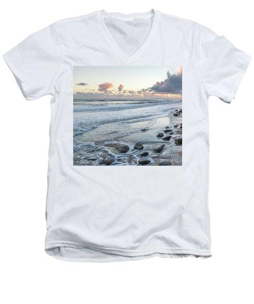 Rocks On The Beach During Sunset Men's V-Neck T-Shirt
