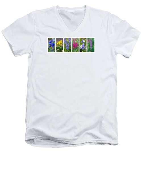 Men's V-Neck T-Shirt featuring the photograph Rocky Mountain Wildflower Collection by Aaron Spong