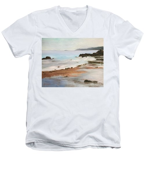 Rocky Neck Beach At Sunset Men's V-Neck T-Shirt