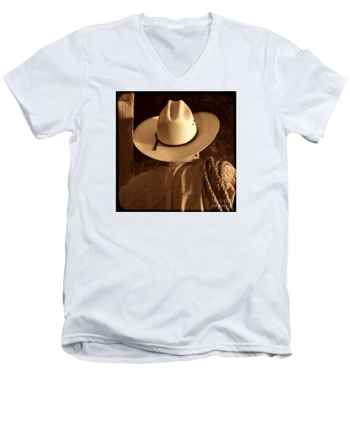 Rodeo Cowboy Men's V-Neck T-Shirt by American West Legend By Olivier Le Queinec