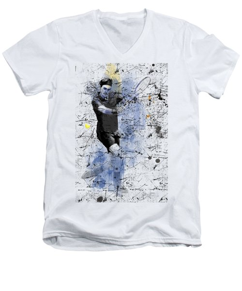 Roger Federer Men's V-Neck T-Shirt by Marlene Watson