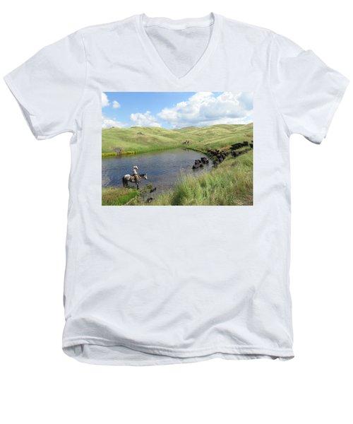 Rolling Hills Men's V-Neck T-Shirt by Diane Bohna