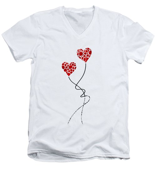 Men's V-Neck T-Shirt featuring the painting Romantic Art - You Are The One - Sharon Cummings by Sharon Cummings