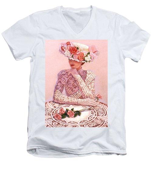 Romantic Lady Men's V-Neck T-Shirt