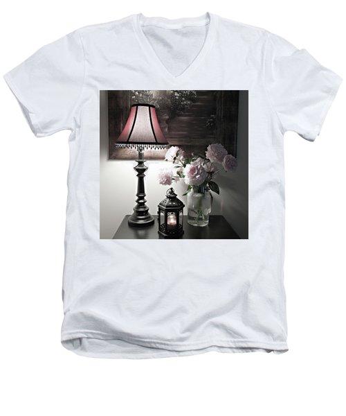 Romantic Nights Men's V-Neck T-Shirt by Sherry Hallemeier
