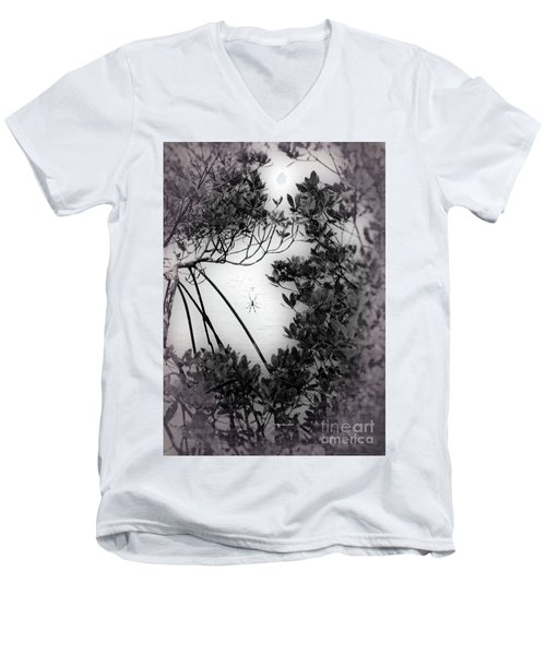 Men's V-Neck T-Shirt featuring the photograph Romantic Spider by Megan Dirsa-DuBois