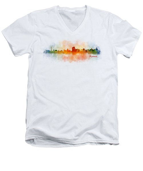 Rome City Skyline Hq V03 Men's V-Neck T-Shirt by HQ Photo