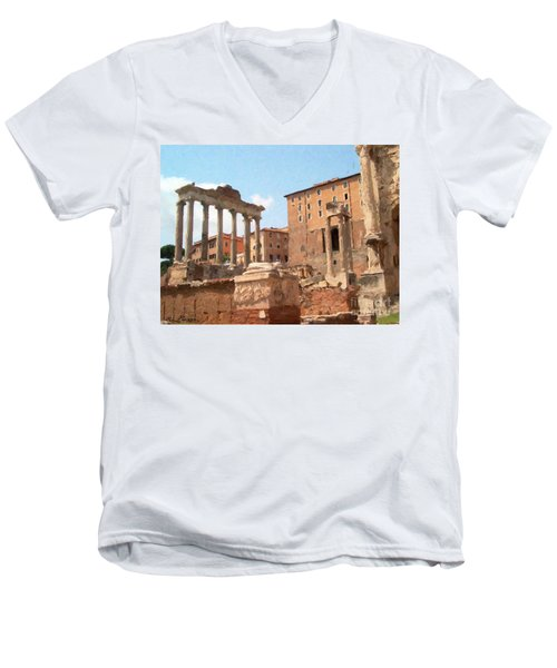 Men's V-Neck T-Shirt featuring the mixed media Rome The Eternal City And Temples by Rosario Piazza