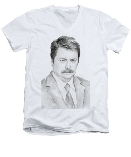 Ron Swanson  Men's V-Neck T-Shirt by Olga Shvartsur