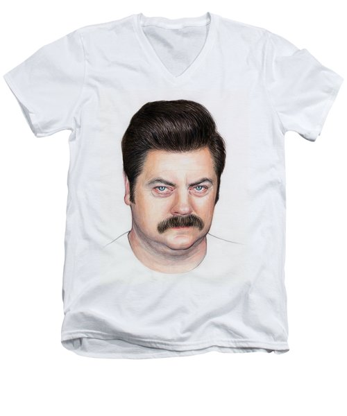 Ron Swanson Portrait Nick Offerman Men's V-Neck T-Shirt by Olga Shvartsur