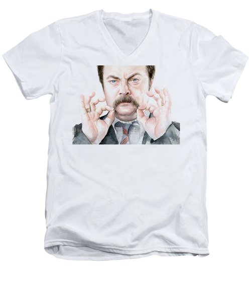 Ron Swanson Mustache Portrait Men's V-Neck T-Shirt by Olga Shvartsur