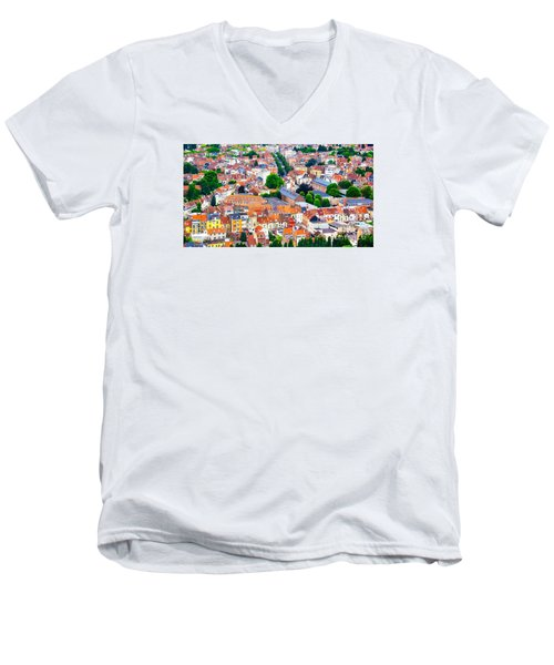 Men's V-Neck T-Shirt featuring the photograph Rooftops by Pravine Chester