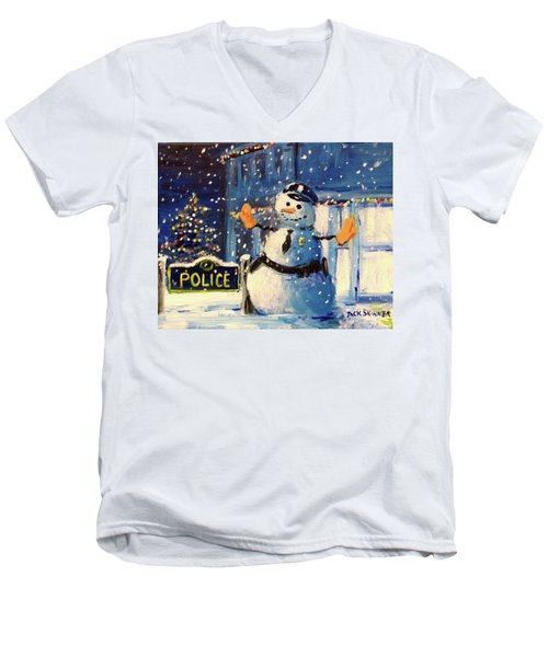 Rookie Working Christmas Eve Men's V-Neck T-Shirt by Jack Skinner