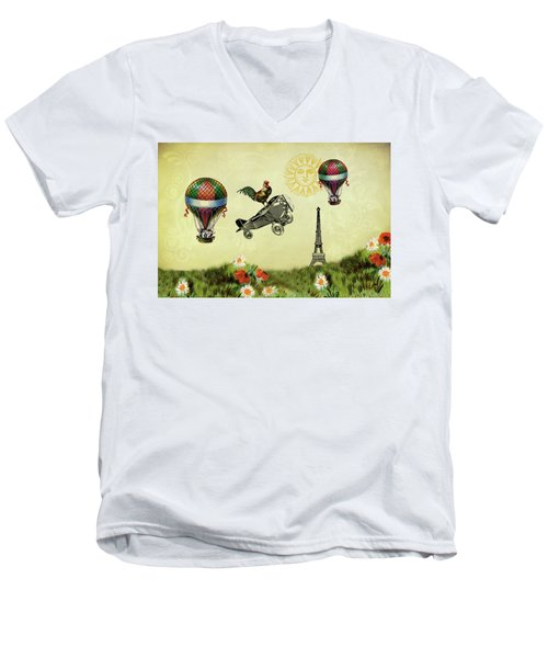 Rooster Flying High Men's V-Neck T-Shirt by Peggy Collins