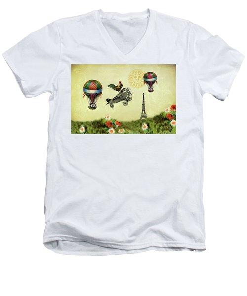 Rooster Flying High Men's V-Neck T-Shirt
