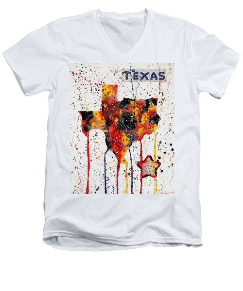 Rooted In Texas Men's V-Neck T-Shirt by Tamyra Crossley