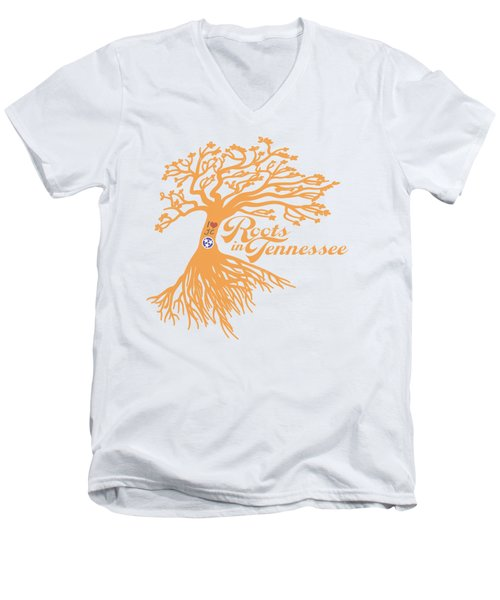 Roots In Tn Orange Men's V-Neck T-Shirt by Heather Applegate