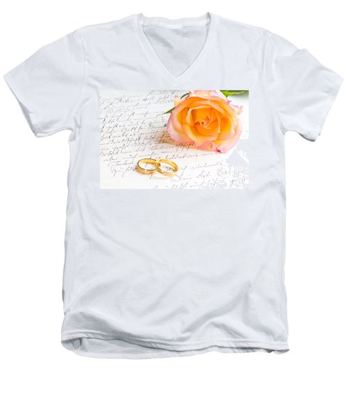 Rose And Two Rings Over Handwritten Letter Men's V-Neck T-Shirt