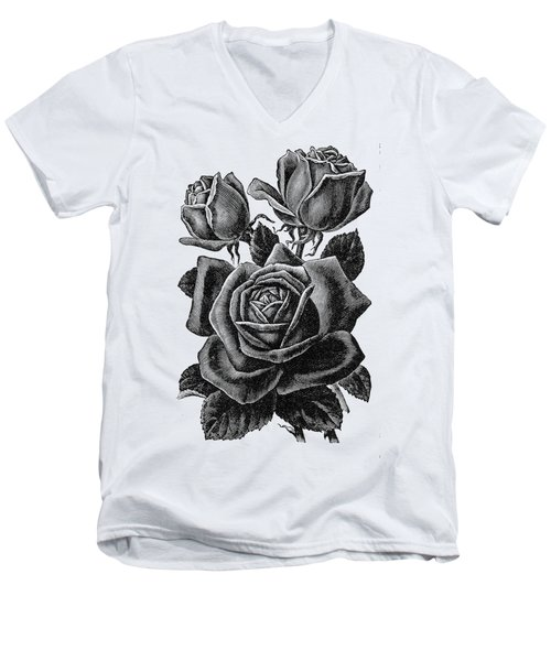 Rose Black Men's V-Neck T-Shirt
