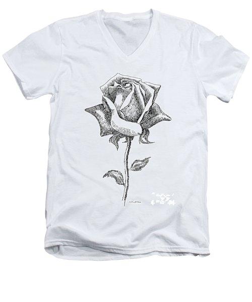 Rose Drawings Black-white 5 Men's V-Neck T-Shirt