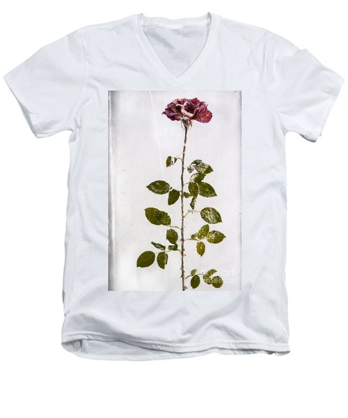 Men's V-Neck T-Shirt featuring the photograph Rose Frozen Inside Ice by John Wadleigh