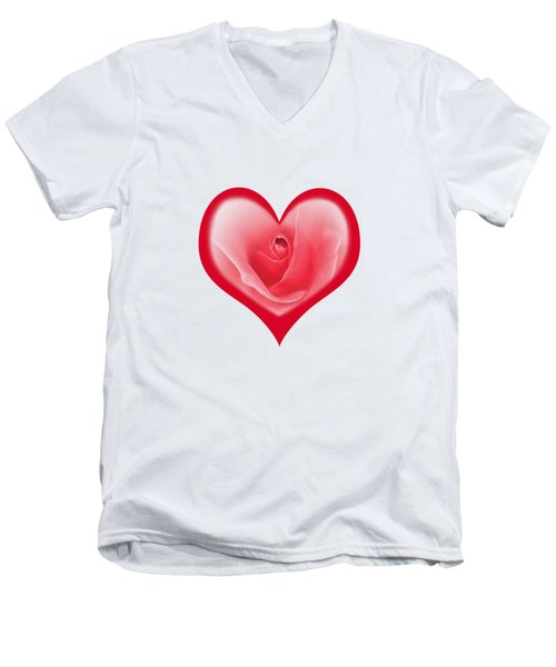 Rose Heart T-shirt And Print By Kaye Menner Men's V-Neck T-Shirt